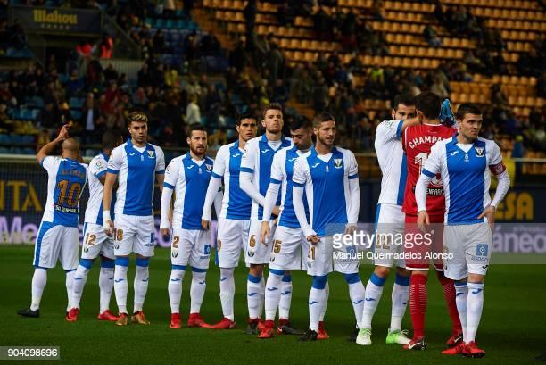 The Leganes team line up prior to kick off during the Copa del Rey Round of 16 second Leg match between Villarreal CF and Leganes at Estadio de La...