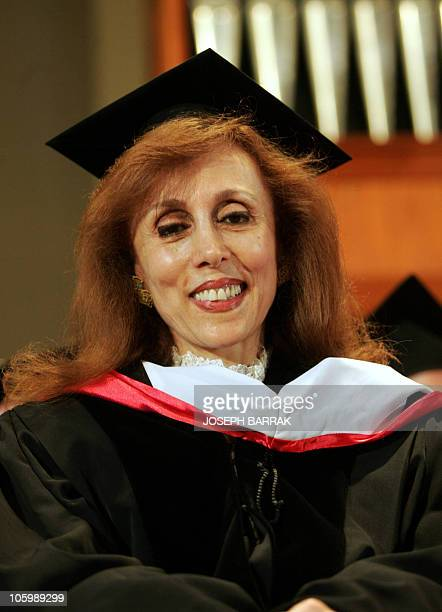 The legendary Lebanese singer Fairuz smiles 25 June 2005 after she received a Honorary Doctorate at American University of Beirut AFP PHOTO / JOSEPH...
