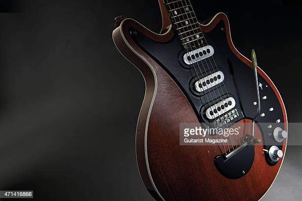 Portrait of the legendary 'Red Special' electric guitar belonging to English rock musician Brian May of Queen taken on August 6 2014 The 'Red...