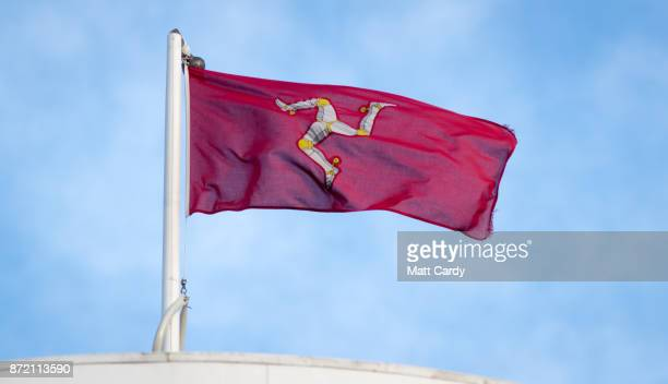 The 'Legs of Man' flag is pictured on November 9 2017 in Douglas Isle of Man The Isle of Man is a lowtax British Crown Dependency with a population...