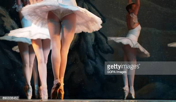 The legs of the ballerinas during their performance Donetsk Opera dancers seen performing The Nutcracker Ballet in Luhansk The Nutcracker is a...