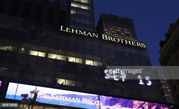 The Lehman Brothers' name is illuminated at the headquarters of Lehman Brothers Holdings Inc September 15 2008 in New York City Lehman Brothers filed...