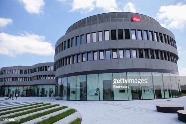 The Leica logo sits on the exterior of the Leica Camera AG factory as the company celebrates their 100th anniversary in Wetzlar Germany on Thursday...