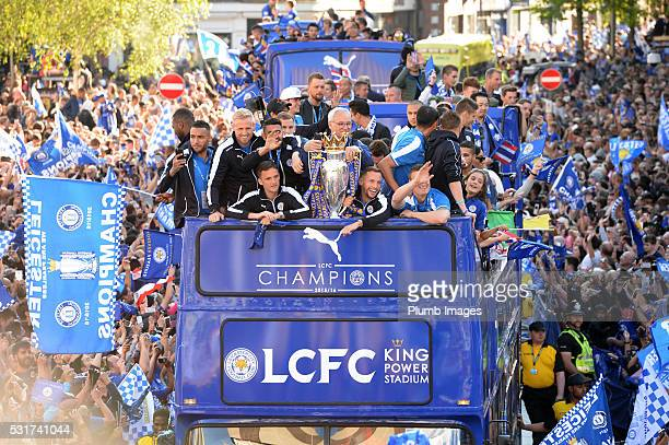 The Leicester City Barclays Premier League Winners Bus Parade in Leicester City on May 16th 2016 in Leicester United Kingdom