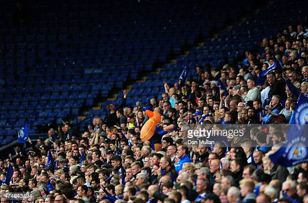 The Leicester City fans stay behind after the final whistls as the QPR section is empty during the Premier League match between Leicester City and...