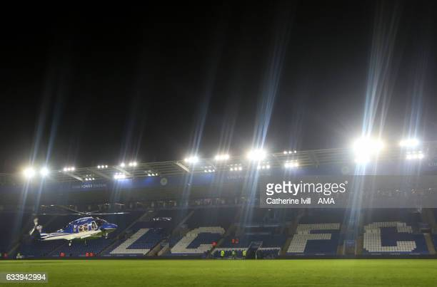 The Leicester City owners helicopter leaves the stadium after the Premier League match between Leicester City and Manchester United at The King Power...