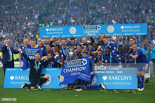 The Leicester City players and staff celebrate becoming Premier League Champions for the 2015/16 Season at the end of the Barclays Premier League...