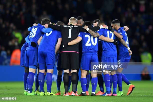 The Leicester City players huddle prior to the Premier League match between Leicester City and Liverpool at The King Power Stadium on February 27...