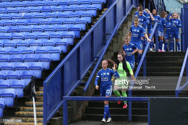 The Leicester City side led by Ashleigh Plumptre of Leicester City take the field ahead of the Barclays FA Women's Championship match between...