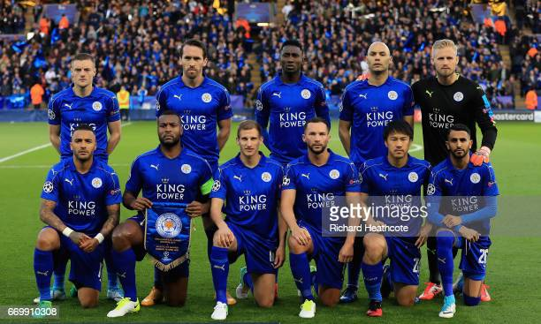 The Leicester City team pose for a team photo prior to the UEFA Champions League Quarter Final second leg match between Leicester City and Club...