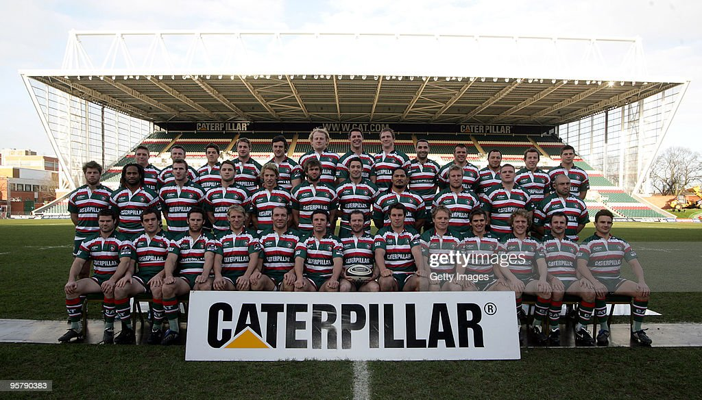The Leicester Tigers playesr pose for a Squad Photograph during a photo call at Welford Road on October 15, 2009 in Leicester, England.