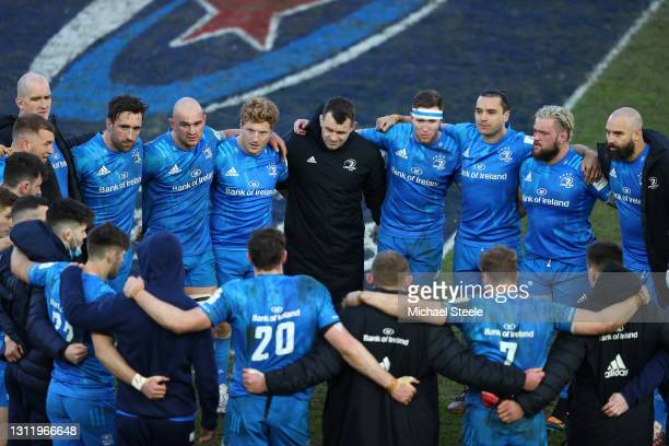 The Leinster team form a huddle following their 34-22 victory in the Heineken Champions Cup Quarter Final match between Exeter Chiefs and Leinster at...