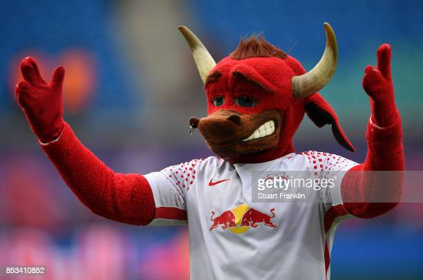The Leipzig mascot gestures during the Bundesliga match between RB Leipzig and Eintracht Frankfurt at Red Bull Arena on September 23 2017 in Leipzig...