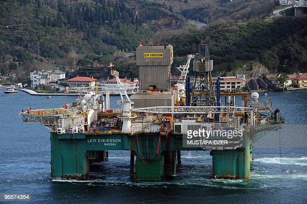 The Leiv Eiriksson one of the world's largest oil drilling platforms leaves the Bosphorous in Istanbul on December 31 as it enters the Black Sea...