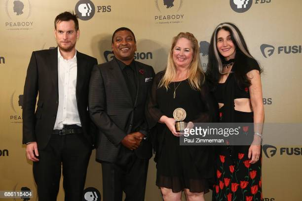 The Lemonade filmmakers pose with an award during The 76th Annual Peabody Awards Ceremony at Cipriani Wall Street on May 20 2017 in New York City