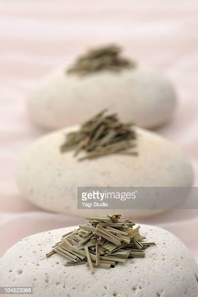 The Lemongrass herb put on the stone