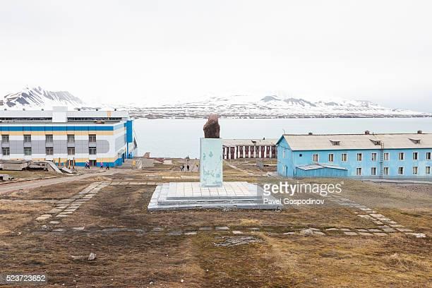 The Lenin Statue in Barentsburg, the second largest settlement on Spitsbergen, Svalbard archipelago