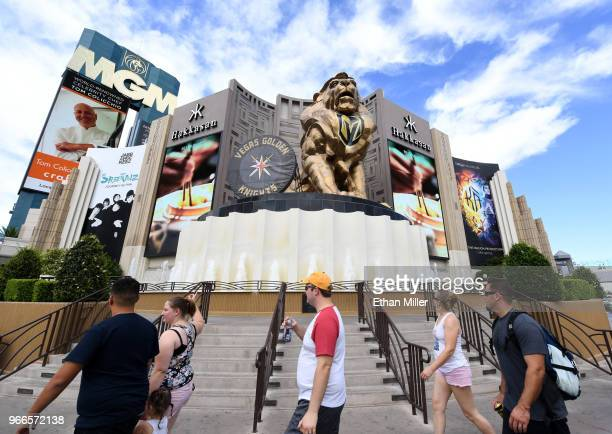 The Leo the Lion statue at the Las Vegas Strip entrance to MGM Grand Hotel Casino bears a painted Vegas Golden Knights logo on its chest behind a...