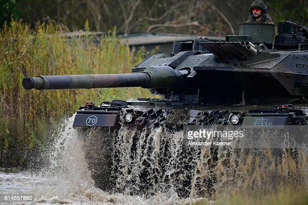 The 'Leopard 2A6' tank of the German Armed Forces participates in the Land Operations military exercises during a media day at the Bundeswehr...