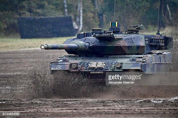 The Leopard 2A7 main battle tank of the German Armed Forces participates in the 'Land Operations' military exercises during a media day at the...