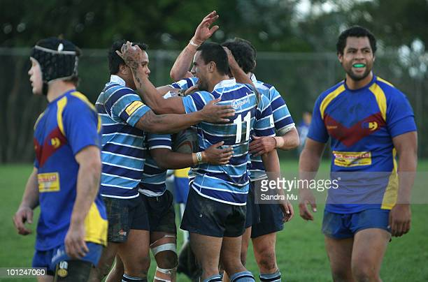 The Leopards celebrate a try during the Fox Memorial Championship match between the Otahuhu Leopards and Howick Hornets at Paparoa Park May 29 2010...