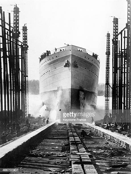The Leopoldville, a ship from the Compagnie Maritime Belge, is being launched in 1929, in Antwerp, Belgium.