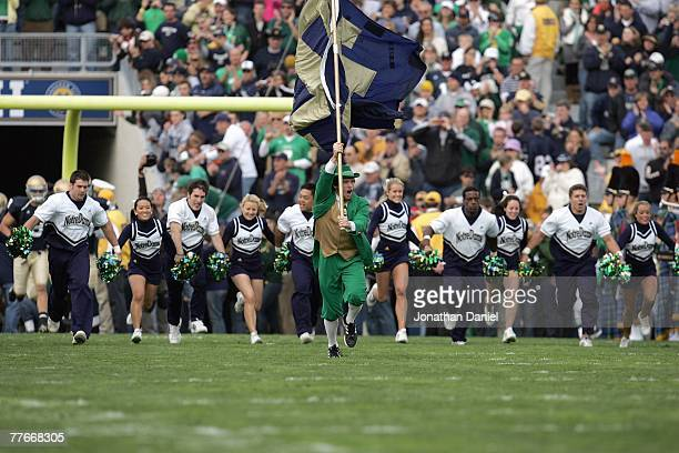 The Leprechaun and cheerleaders of the Notre Dame Fighting Irish enter the field before the game against the Boston College Eagles on October 13 2007...