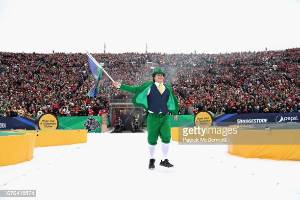 8f07a636440e4f The Leprechaun mascot of Notre Dame walks out on to the field before the  2019 Bridgestone