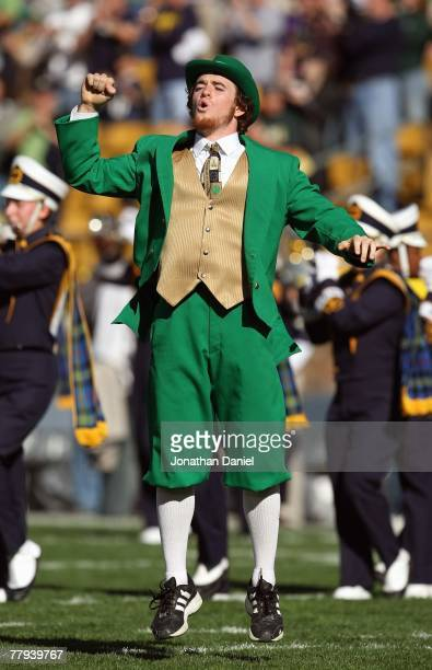 The leprechaun mascot of the Notre Dame Fighting Irish yells on the field during the game against the University of Southern California Trojans at...