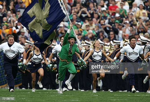 The Leprechaun, masscot for the Notre Dame Fighting Irish charges onto the field with the ND cheerleaders against the Purdue Boilermakers September...