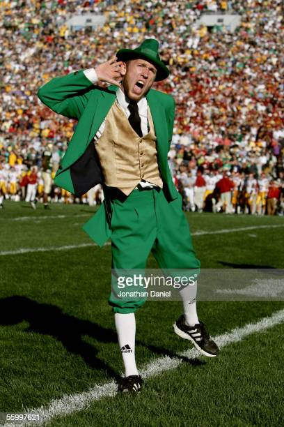 The Leprechaun, the University of Notre Dame Fighting Irish mascot, performs during the game against the University of Southern California Trojans on...