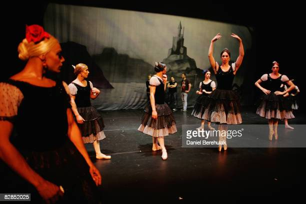 The Les Ballets Trockadero de Monte Carlo troup pactice steps after receiving feedback from their director on September 16 2008 in London England The...