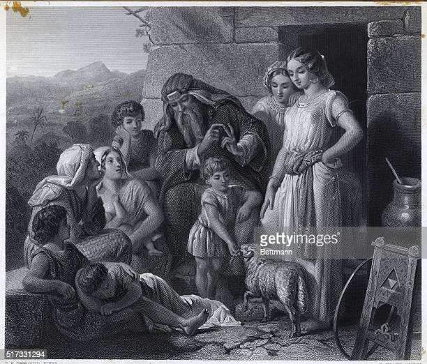 The Lesson of the Passover Engraving by Heath 1864