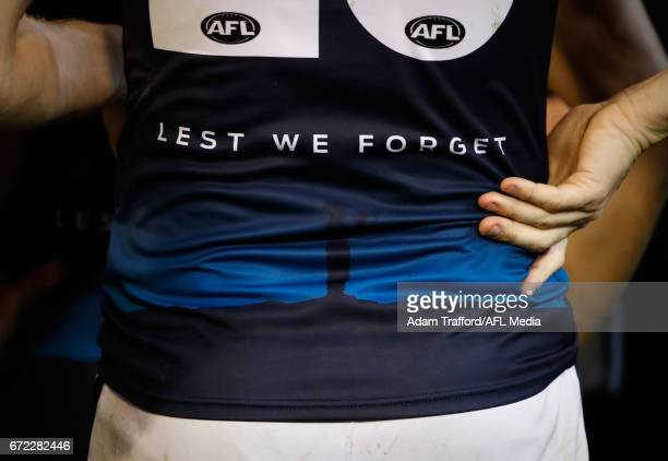 The Lest We Forget logo is seen on the Melbourne jumper to commemorate Anzac Day during the 2017 AFL round 05 match between the Richmond Tigers and...