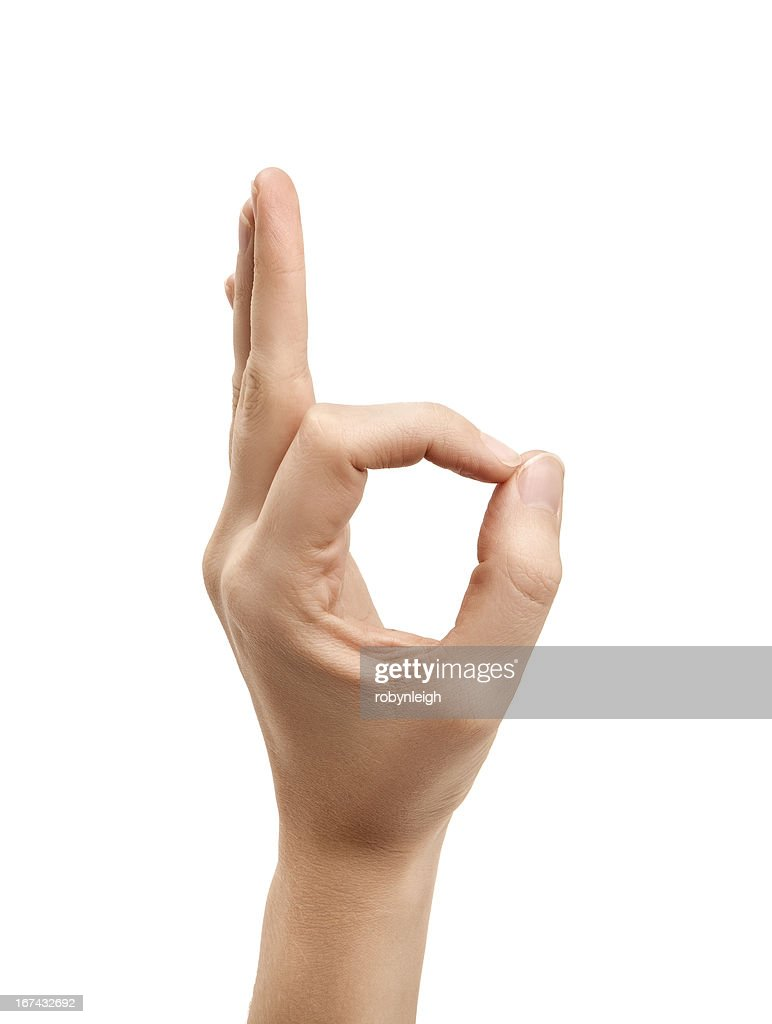 The letter F using American Sign Language : Stock Photo