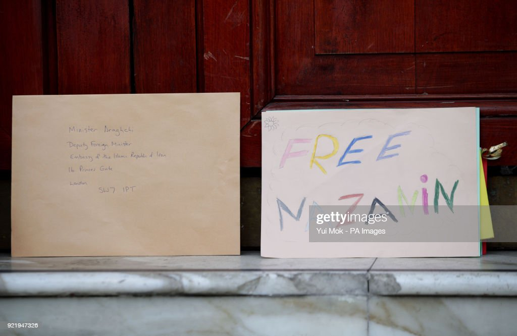 The letter left by Richard Ratcliffe, the husband of jailed British mother Nazanin Zaghari-Ratcliffe, outside the Iranian Embassy in London concerning the continued detention of his wife in Iran.