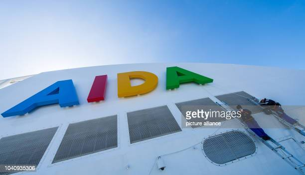The lettering 'Aida' seen on the new flagship 'Aidaprima' of shipping company Aida Cruises in Hamburg Germany 21 April 2016 The ship which can...