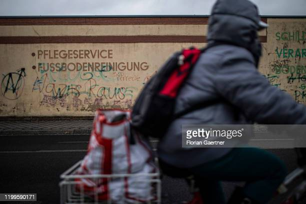 The lettering 'Nazis Raus' is pictured on a wall on February 06 2020 in Welzow Germany