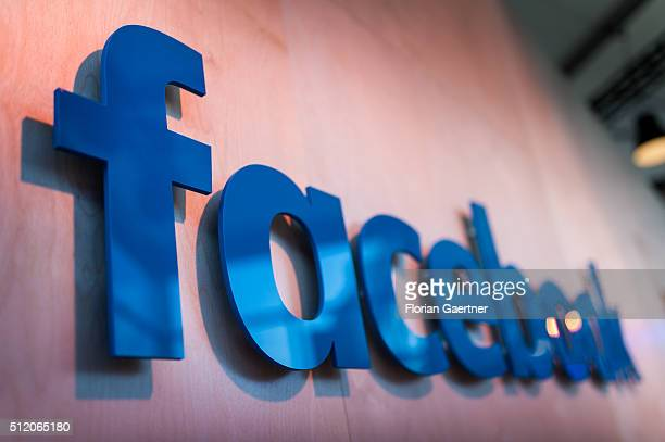The lettering of Facebook captured on February 24 2016 Facebook presented its Innovation Hub where new technology and ideas were shown