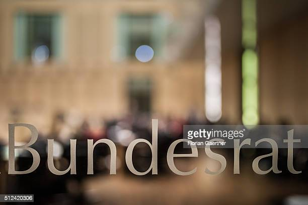 The lettering of the Bundesrat captured on February 26 2016 in Berlin