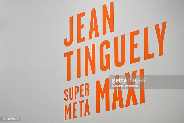 The lettering of the 'Jean Tinguely. Super Meta Maxi' exhibition at Museum Kunstpalast on April 21, 2016 in Duesseldorf, Germany.