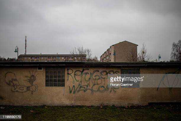 The lettering 'Refugees Not Welcome' is pictured on a wall on February 06 2020 in Welzow Germany