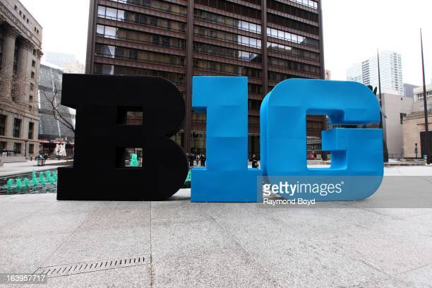The letters BIG sits in Daley Plaza to commemorate Big 10 basketball being played at Chicago's United Center in Chicago Illinois on MARCH 16 2013