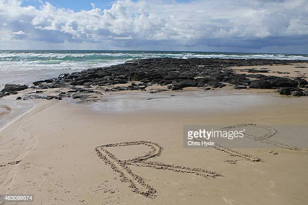 The letters RIP on Shelly Beach in memory of shark attack victim Tadashi Nakahara on February 10 2015 in Ballina Australia Beaches in northern NSW...