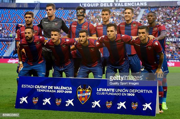 The Levante team line up for a photo prior to kick off during the La Liga match between Levante and Deportivo La Coruna at Ciutat de Valencia on...