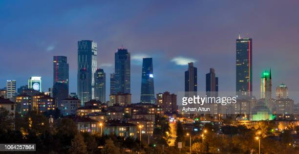 the levent business area at night in besiktas district of istanbul,turkey - contemporary istanbul foto e immagini stock