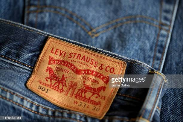 The Levi's logo is displayed on Levi's 501 jeans on February 13 2019 in San Francisco California Levi Strauss announced that it has filed paperwork...