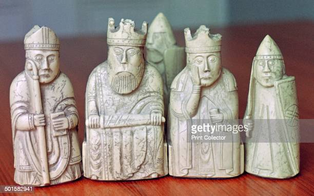 The Lewis Chessmen c1150c1200 Five ivory chess pieces from a collection of ninetythree found at Uig on the Isle of Lewis Outer Hebrides Scotland...