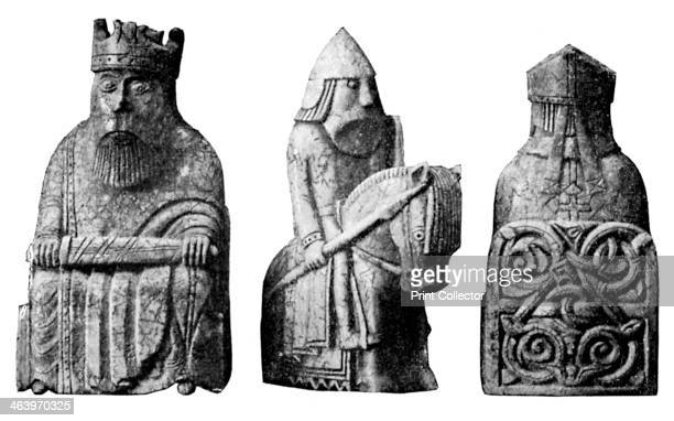 The Lewis Chessmen c1150c1200 Nine ivory chess pieces from a collection of ninetythree found at Uig on the Isle of Lewis Outer Hebrides Scotland The...