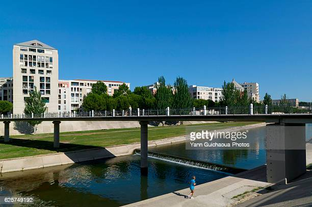 The Lez River,Allee Du Capitaine Dreyfus,Montpellier, Herault, Languedoc-Roussillon, France